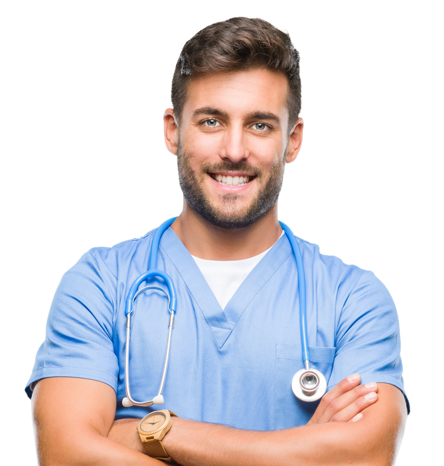 smiling male nurse with his arms crossed