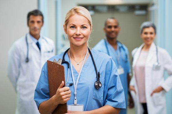 Smiling female nurse practioner